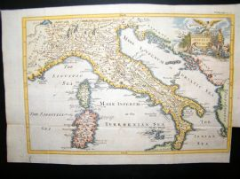 Ancient Italy, Sardinia, Corsica C1750 Hand Col Antique Map
